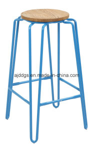 Wooden Seat Iron Tube High Round Bar Stool (dd-1030) pictures & photos