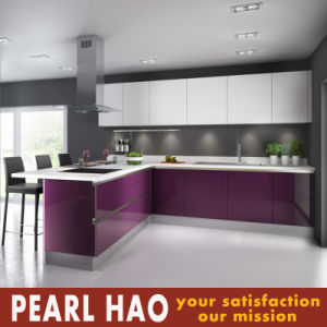 Modern White Purple Acrylic Wood Kitchen Cabinet pictures & photos