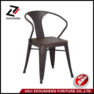 Gun Metal Color Outdoor Restaurant Chair with Wooden Seat and Armrest Zs-T05-18 pictures & photos