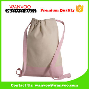 Nature 100% Cotton Fabric Drawstring School Backpack for Teenage Girls pictures & photos