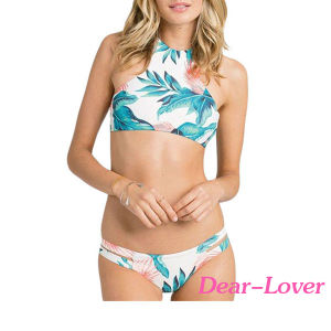Tropical Leaf Print High Neck Swimwear Bikini pictures & photos