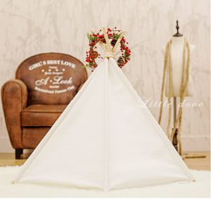 Market Pet Teepee Dog Toy Tent Classical Pure White Canvas Style pictures & photos
