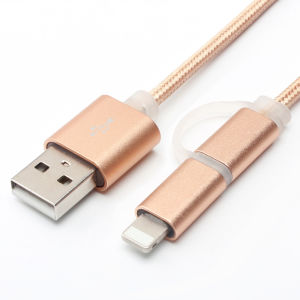 2 in 1 Charging and Sync Nylon Insulated USB Cable pictures & photos