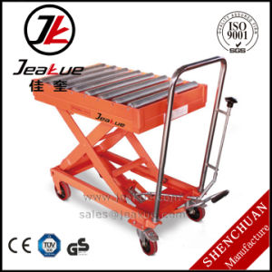 300/500kg Pedal Hand Lift Table with Roller pictures & photos