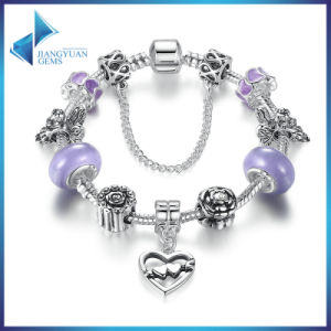 Heart to Heart Pendant & Safety Chain Purple Murano Beads Bracelets Jewelry pictures & photos