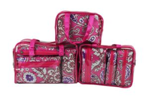 Printed Polyester Travel Wash Cosmetic Bag with Zipper