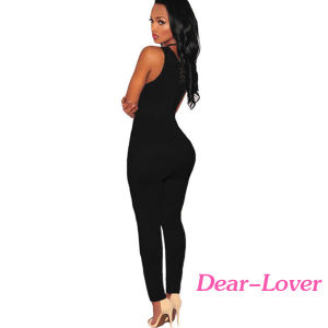 Black Thick Milk Silk Lace up Jumpsuit pictures & photos