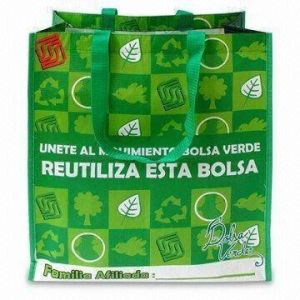 RPET Green Leaf Shopping Bag with OPP Film and Matte Lamination