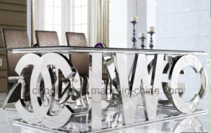 Luxury Design English Word Stainless Steel Big Dining Table (A8036) pictures & photos