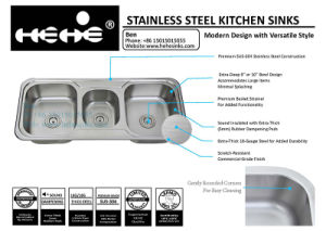 Stainless Steel Drop in Triple Bowl Sink, Drop in Sink, Stainless Steel Top Mount Triple Bowl Drain Board Kitchen Sink pictures & photos