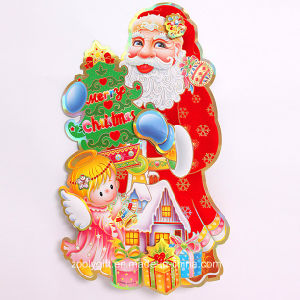 Customized 3D Santa Claus Gold Stamping Christmas Ornament Window Stickers pictures & photos