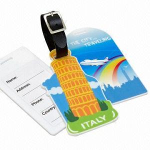 Large Bag/Luggage Tags, Made of 3mm White Acrylic with a PU Strap
