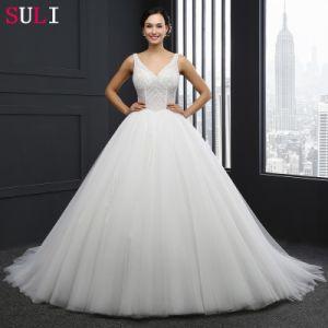 V-Neck Backless Beading Wedding Dress (SL-042)