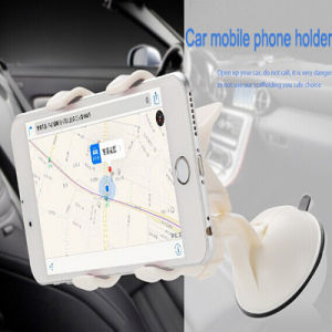 Small Universal Car Suction Cup Mobile Phone Holder for Car with Double Clip Support Mobile Phone