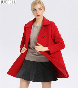 New Commuter Ladies Collar Thin 100% Wool Coat Women European and American Style Double Breasted Long Winter Coat pictures & photos