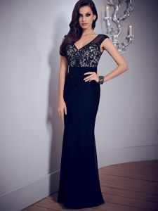 V-Neck Black Formal Women Evening Dress