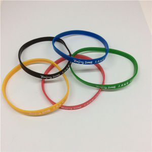 Olympic Use Printed Custom Logo Thin Silicone Bracelet pictures & photos