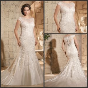 Lace Tulle Bridal Wedding Gown Plus Size Beads Sheath Wedding Dress Jt3188 pictures & photos