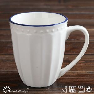White Porcelain Embossed Blue Rim Mug pictures & photos