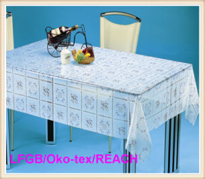 Cheap PVC Print Transparent Tablecloth / Table Linen pictures & photos