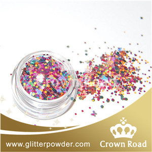 Mixed Color Hex Cut Glitter Powder