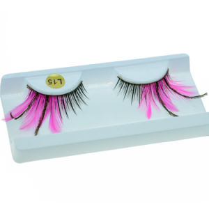 Fashion Creative Makeup Eyelash Stage Cosplay Pink Feather False Eyelashes pictures & photos