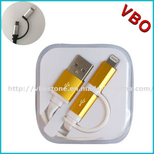 2015 Newest Fashionable TPE Material Mfi Certified 2 in 1 Mfi USB Cable for iPhone/Samsung pictures & photos