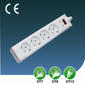 Surge-Proof Four Ways EU Extension Socket with Switch