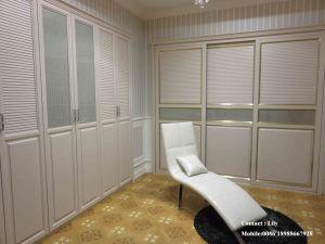 Wood Veneer Sliding Door Bedroom Wardrobe (ZH-5017) pictures & photos