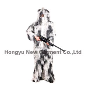 Snow Camouflage Pattern Fatigues Ghillie Suit for Hunting (HY-C004) pictures & photos