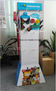 Innovative Four Sides Custom Pop Cardboard Floor Display with Hooks Free Standing Unit for Clips pictures & photos