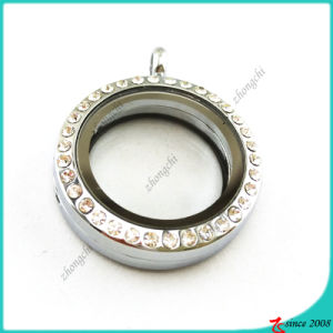 Round 25mm Rhinestone Floating Locket Jewelry (FL16041939) pictures & photos