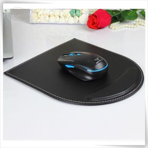 Black PU Leather Handmade Custom Office Mouse Mat with Wrist Rest