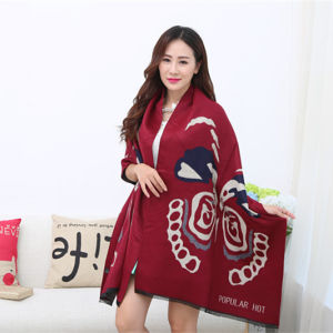 Lady Fashion Acrylic Woven Fringed Jacquard Winter Shawl (YKY4447) pictures & photos