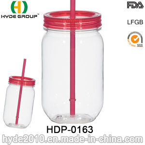 Plastic Water Bottle, Single Wall Mason Jar with Straw (HDP-0163) pictures & photos