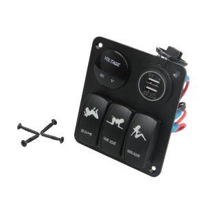 Waterproof 3 Gang LED Rocker Switch & 4 USB Sockets Panel for Marine/Boat/RV 12V 24V Aluminium Panel pictures & photos