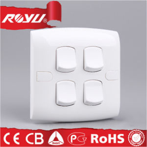 Alpha White PC Mateiral Saso 4gang Wall Switch pictures & photos