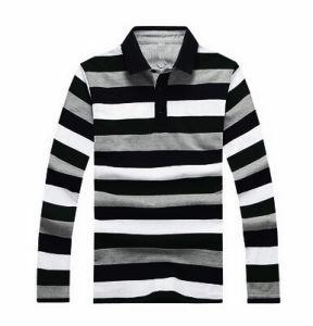 Bamboo Men′s Stripe Long Sleeve Polo Shirt pictures & photos