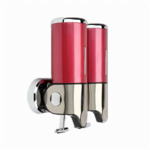 Dark Red 500ml*2 Stainless Steel+ABS Plastic Wall-Mountained Liquid Soap Dispenser
