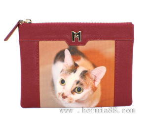 Lady′s Cow Leather Wallet with Cat Pattern Digital Printing (HW250008-1)