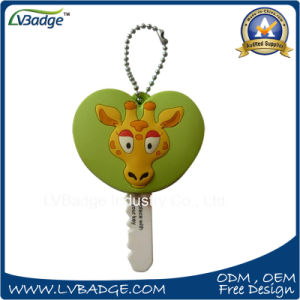 Promotional LED Soft PVC Keyring with Ball Chain pictures & photos