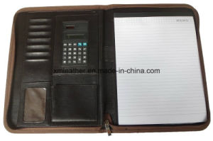 Zip A4 PU Leather Document Presentation Folder with Calculator pictures & photos