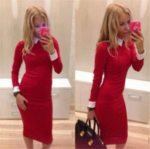 Red Long Sleeve Slim Tight Ladies Office Dress pictures & photos