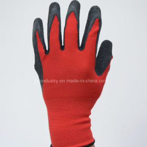 13G Polyester Lining with Black Latex Coated Safety Work Glove pictures & photos
