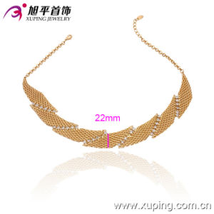 Fashion 18k Gold Color Fan-Shaped Wide Necklace (42476) pictures & photos