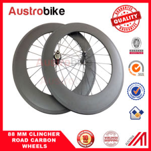 88mm Road Bicycle Tubeless Clincher Wheels Powerway Carbon Body Hub Tabular Rim pictures & photos