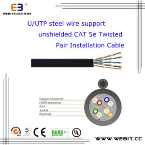 U/UTP Steel Wire Support Unshielded Cat 5e Twisted Pair Installation Cable, , Cat5e Data Cable /LAN Cable /Network Cable pictures & photos
