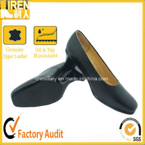 Black leather office shoes for women