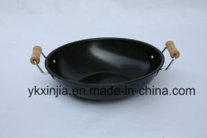 The Double Wooden Handle Iron Wok pictures & photos