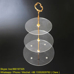 3 Tiers Clear Round Shape Acrylic Cake Display Stand pictures & photos
